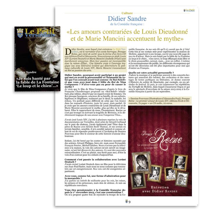 Article sur le livre Presque Reine aux editions Eveil et Découverte dans le magazine Le petit Versaillais